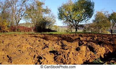 Plowed land - Plowed soil in autumn in the orchard