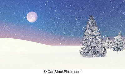 Snowy firs and snowfall at dawn - Simple winter scene. Snowy...