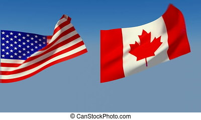 Loopable USA and Canada Flags Alpha channel is included