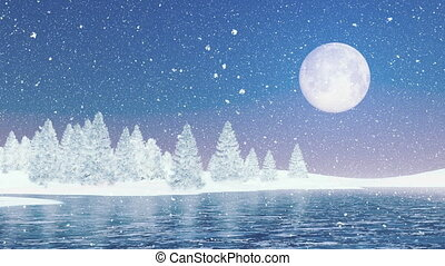 Snowy firs and frozen lake at night - Dreamlike winter...