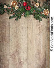 Christmassy background - a wooden background with Christmas...