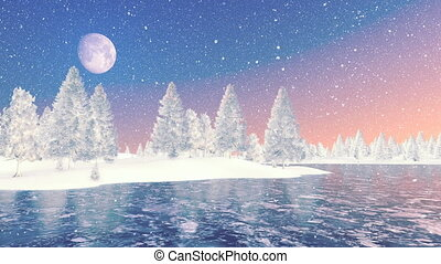 Snowy spruce forest and frozen lake - Evening or morning...