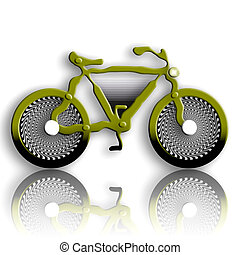 Military Style Bicycle - Military Styled Bicycle over White...