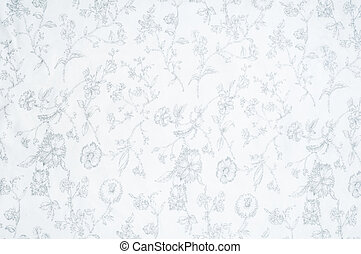 Cotton fabric texture, background, white, with painted flowers