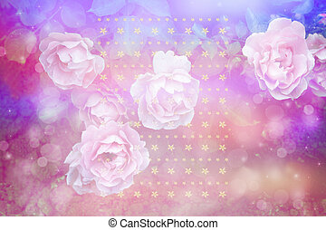 Beautiful artistic background with romantic pink roses