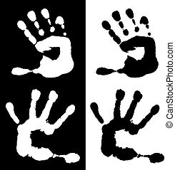 Watercolor children palm in black and white - Watercolor...