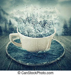 winter cup - Illustration of a magic cup in a cold winter...