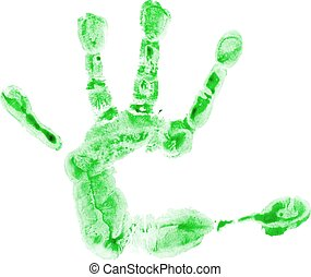 Watercolor children palm - Watercolor green print of...