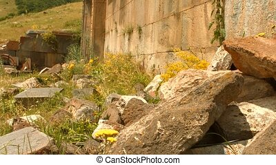 Large Stone Wall with Rubble and Overgrown Plants