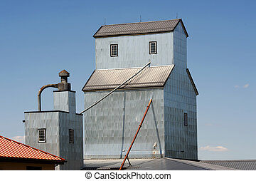 Grain elevator roof in the Midwest rural farm