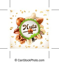 Nuts vector label - Nuts, vector label on white background