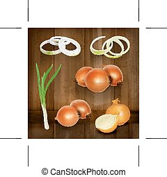 Onion vector icons - Set with onion vector icons on wooden...