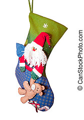 Christmas Stocking with Santa Claus isolated on white
