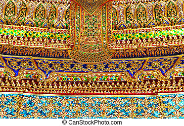 Wat Po Temple - Ornate wall of Wat Po Temple, Thailand