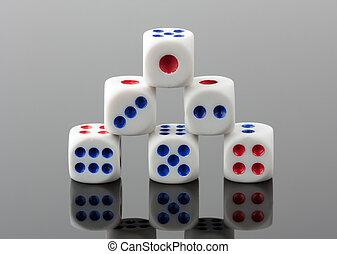 Pyramid of gambling dices