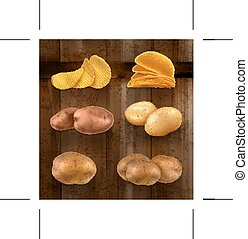 Potatoes vector icons - Set with potatoes vector icons on...