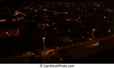 Busy Road Overlooking Urban City at Nighttime