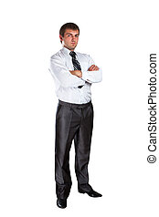 Confident businessman with crossed hands isolated on white
