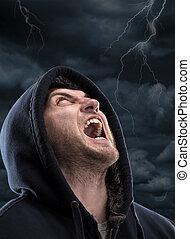 Screaming bandit - Despair bandit screaming to dark sky