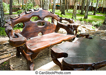 Great hardwood dark bench and table