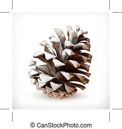Pine cone icon - Pine cone vector icon in snow, isolated on...