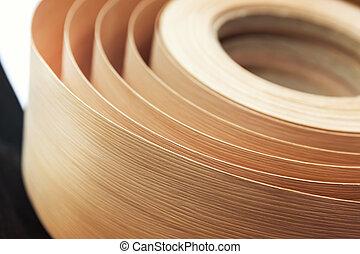 Veneer in a roll - Closeup of veneer in a roll