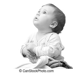 Praying baby girl - Baby girl with hands clasped together...