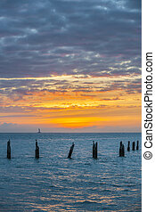 Key West sunset - Sunset over Gulf of Mexico turquoise water...