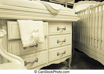 White chest of drawers with a towel - Vintage mansion white...