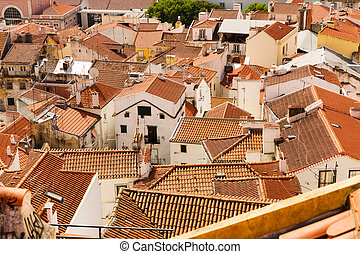 European city roofs - Panoramic view of european city roofs,...