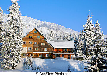 Ski chalet in mountain village