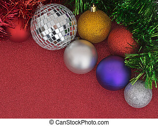 Christmas tree decorations, baubles and tinsel, on glittery red and black.