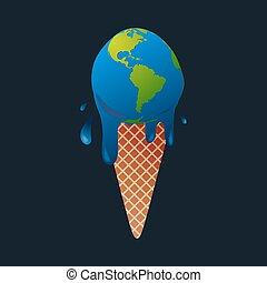 ice cream earth globe - Ice cream earth melts - global...
