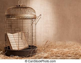 prisoner - ancient book prisoned in golden birdcage on...
