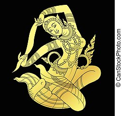 Mother of Earth in gold - Mother of Earth or Hindu god in...