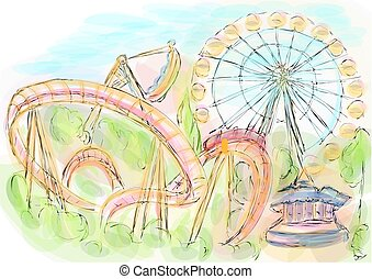 amusement park. multicolor vector background. 10 EPS