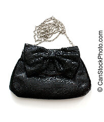 Clutch bag over white - Isolated black clutch bag with...