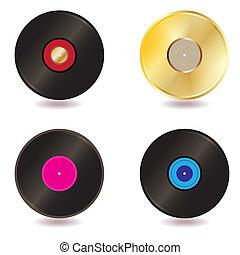 Vinyl lp vintage discs - raster - Illustration of a...