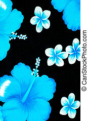 Texture. Background. Woolen fabrics. Blue and white flowers on a black background