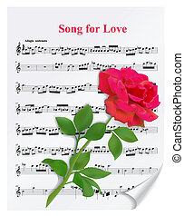 Red rose on notesheet - Beautiful red rose on notesheet on...