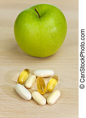 Green Apple and Nutrition Supplement Tablets or Medicine - A...