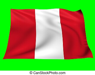 Flag of Peru - Flag of Peru blowing in the wind on green...