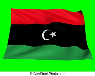 Flag of libya - Flag of libya blowing in the wind on green...
