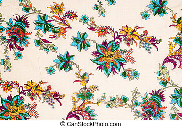 Texture, background. cotton fabric flowers on a beige background. Abstract pattern