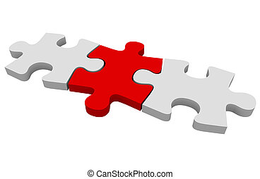 Red Puzzle Piece Three Connected Pieces Solving Problem...