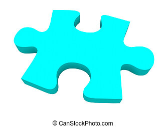 Final Puzzle Piece Blue Complete Picture Solve Problem - A...