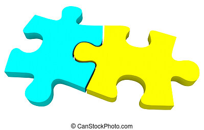 Two 2 Puzzle Pieces Coming Together Yellow Blue - Two puzzle...