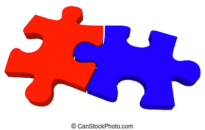 Two 2 Puzzle Pieces Coming Together Red Blue - Two puzzle...