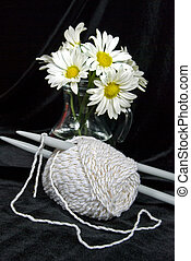 Ball Of Yarn - Daisy bouquet with skein of yarn.