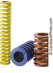 Springs isolated 2 - Red, blue and yellow spring isolated